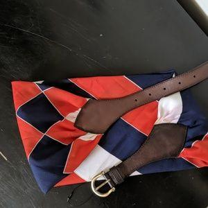Anthropologie red white & blue belt w/ brown clasp
